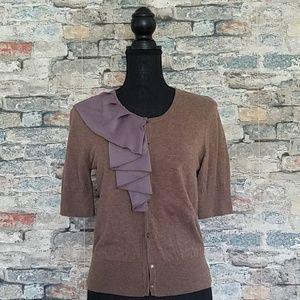 ANN TAYLOR LOFT Brown Cardigan Zipper Ruffle Small